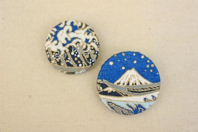 浮世絵北斎富士山と波の和紙缶バッチ