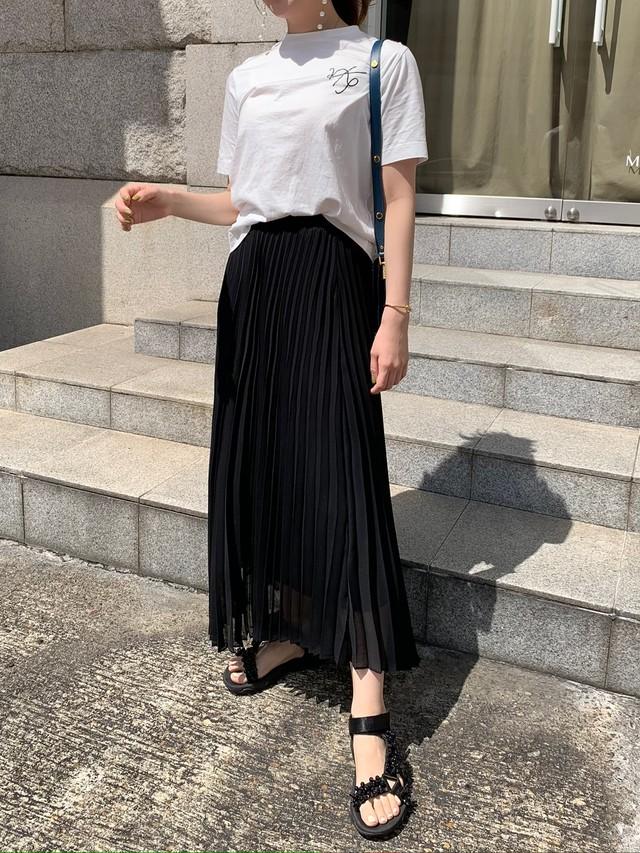 sheer pleats skirt / black (即納)