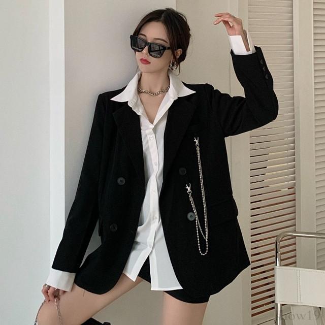 【アウター】韓国系合わせやすい ゆったりチェーン 合わせやすい スーツジャケット34386951