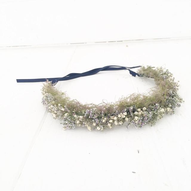 ウェディング ドライフラワー花冠(アンティーク)