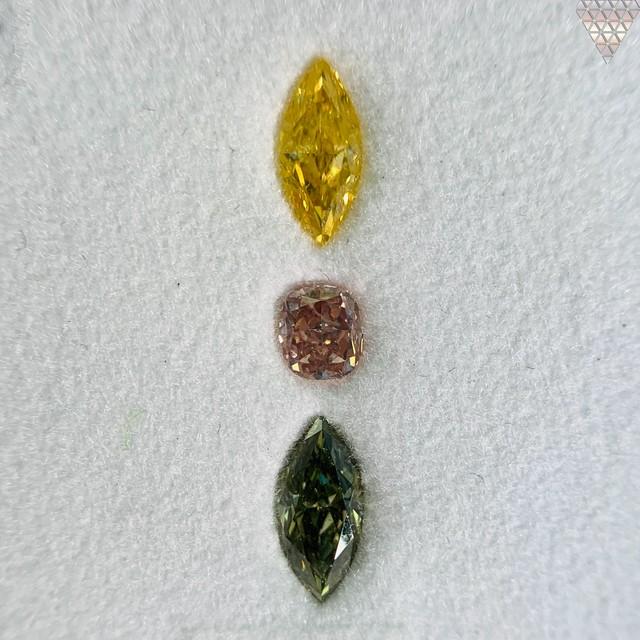 合計  0.71 ct 天然 カラー ダイヤモンド 3 ピース GIA  3 点 付 マルチスタイル / カラー FANCY DIAMOND 【DEF GIA MULTI】