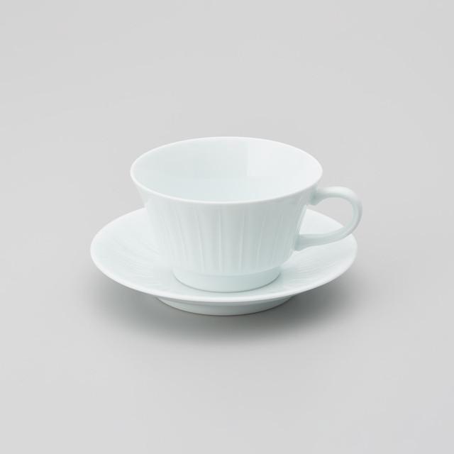 【中仙窯】白磁線彫りスープ碗皿(220㏄)