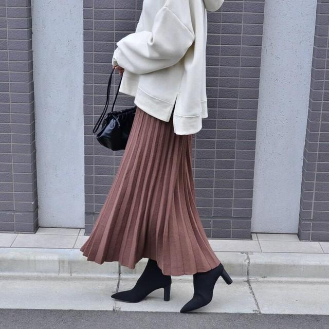 ◆即納◆ ニット プリーツスカート is-0-7