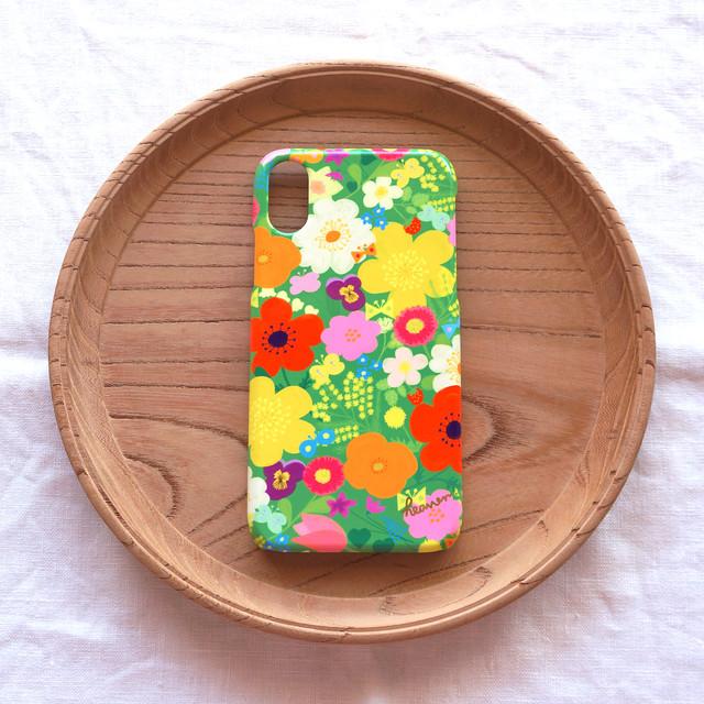 【iPhone / Android】側表面印刷*ハード型*スマホケース「happy garden (green)」● 受注生産
