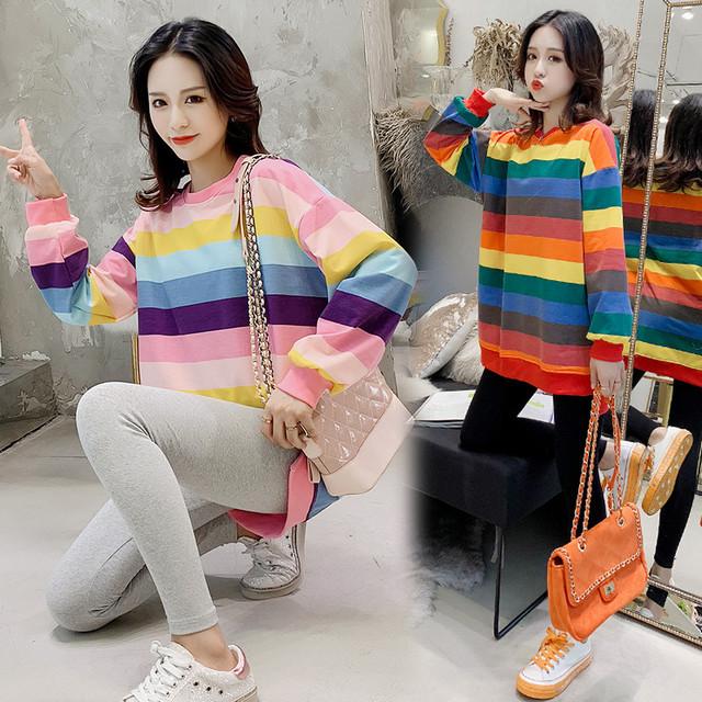 【マタニティ】ファッション切り替え配色ボーダースウェット24831621