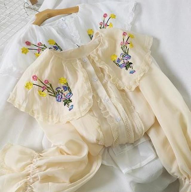 シフォンシャツ シャツブラウス 花柄刺繍シャツ フリル 長袖トップス レース ルーズフィット エレガント フェミニン キュート  シンプル 無地 アプリコット/ホワイト/ブラック