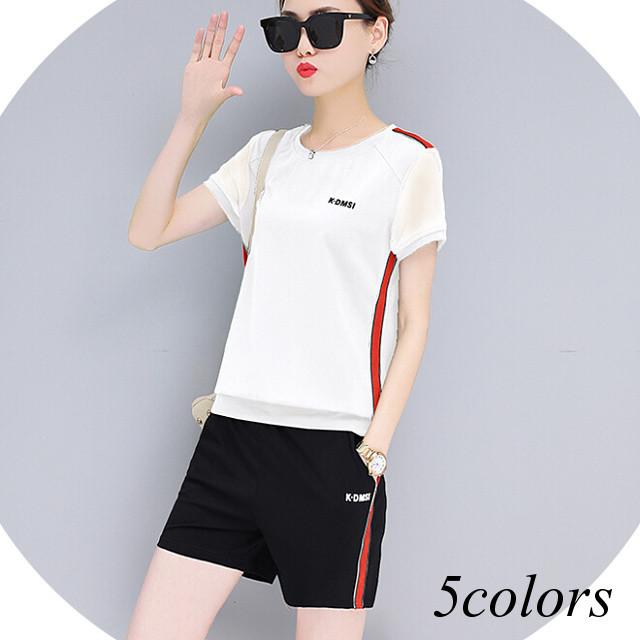 ジャージ セットアップ カジュアル 2点セット 半袖 トップス Tシャツ ショートパンツ 短パン レディース 大きいサイズ 白 黒 ホワイト ブラック