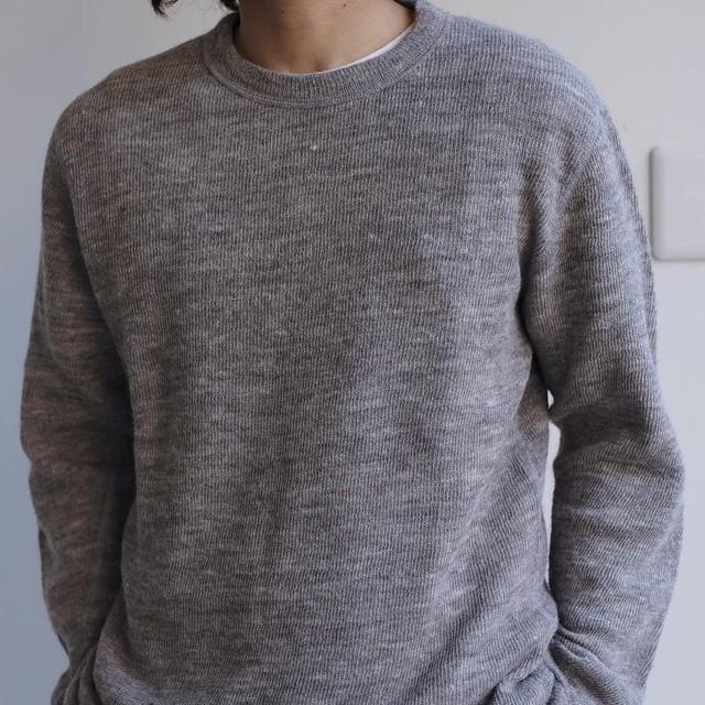 niuhans / Shetland Wool Linen Cotton Double-cloth Crew Neck Tee[LIGHT BROWN]