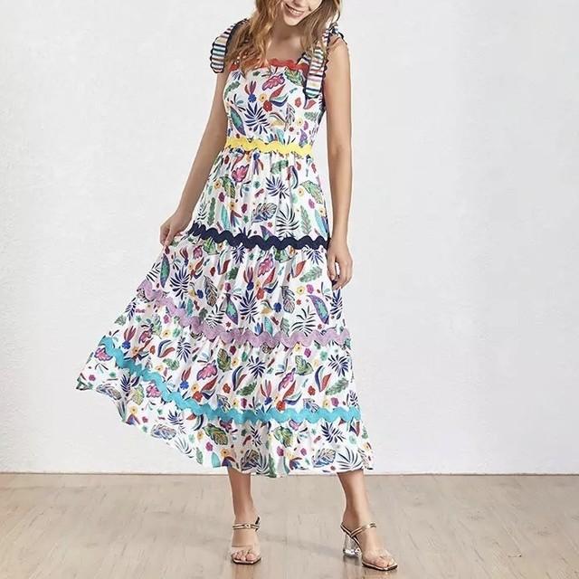 ハッピープリント パイピング サマードレス