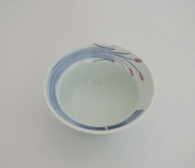 502 青花匠・シリ ーズ (朱)稲穂甲型小鉢