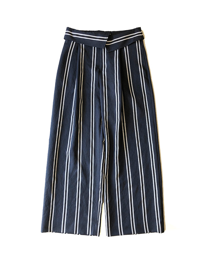 Stripe wide pants Navy /  C+