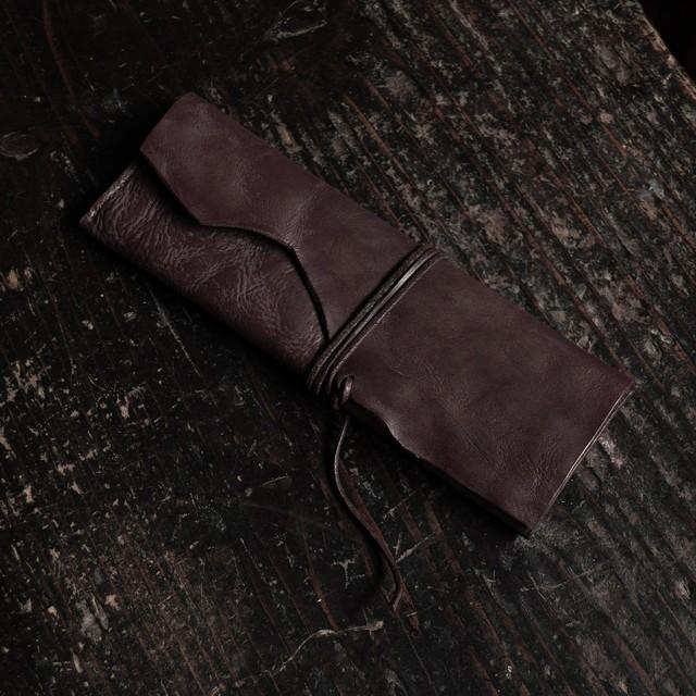 三折ペンケース 赤 紐 sasaki yuichi