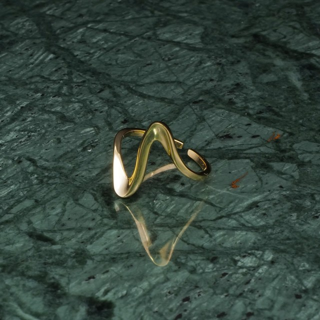 S925 WIDE WAVE RING GOLD