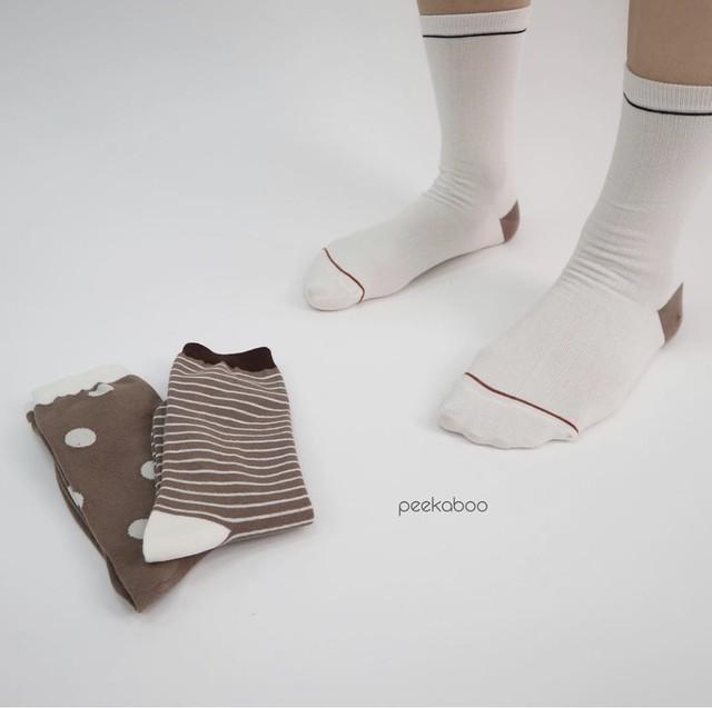 (即納) socks set C (アイボリードットセット) Peekaboo