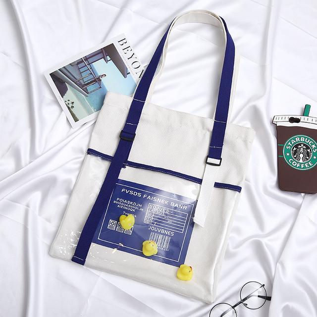【bag】ファッション合わせやすいプリント切り替え帆布ショルダバッグ