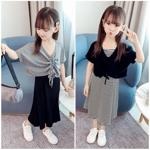 100~150cm 2カラー★ツーピース サスペンダースカート  ロングスカート 半袖