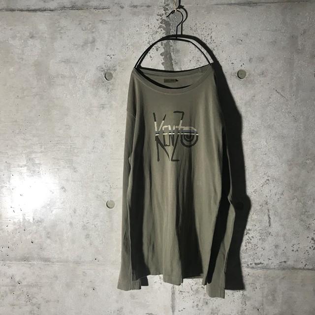 [KENZO]brand name charcoal long shirt