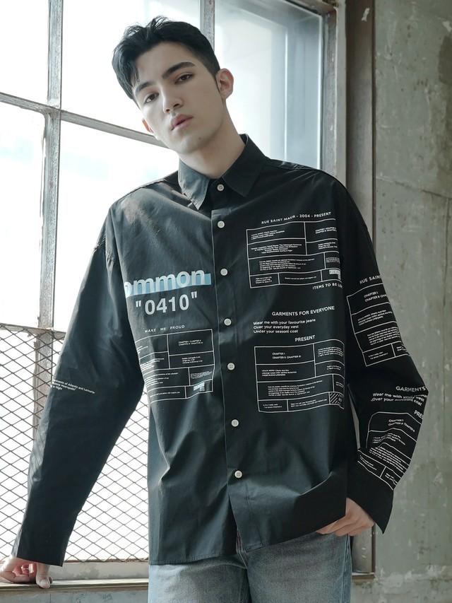 【即日出荷】commonロゴシャツ 長袖 柄 ストリート カジュアル モノトーン メンズ ユニセックス