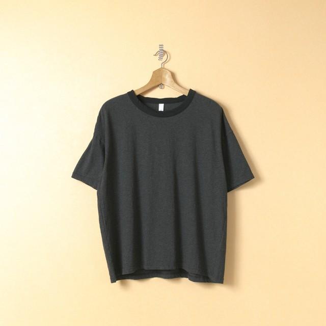 prit プリット トップ杢天竺リンガーTシャツ・チャコール杢