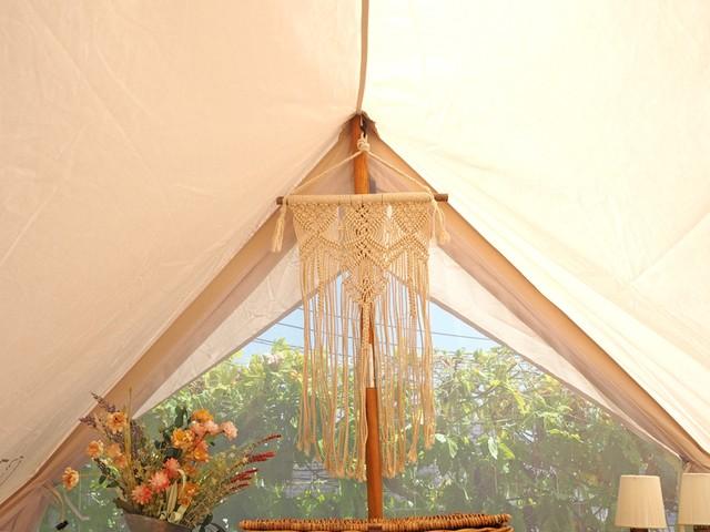 【クレエ】マクラメタペストリー マクラメ編みナチュラルコットン おしゃれキャンプ