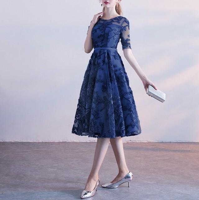SALE 即納 2色 オーガンジー フラワー刺繍 パーティ―ドレス お呼ばれワンピース 結婚式 二次会 同窓会