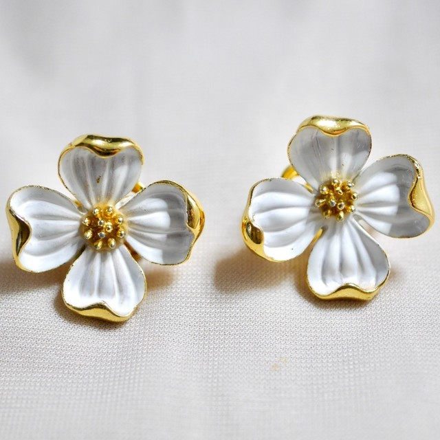 Crown Trifari Dogwood clip-on earrings