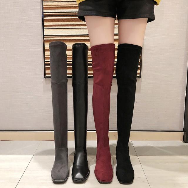 【シューズ】ファッション簡約暖かいローヒールロング丈ブーツ23995092