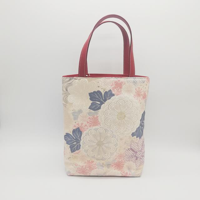トートバッグ 小(B5サイズ収納可)【菊】帯リメイク バッグ