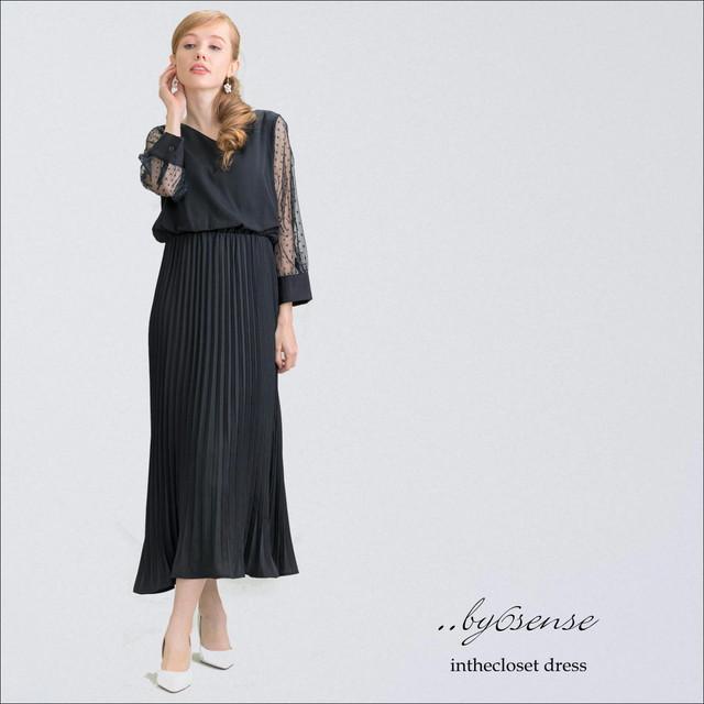 Black《結婚式・二次会などのパーティシーンに》袖ドットチュールプリーツドレス フリーサイズ 3色展開