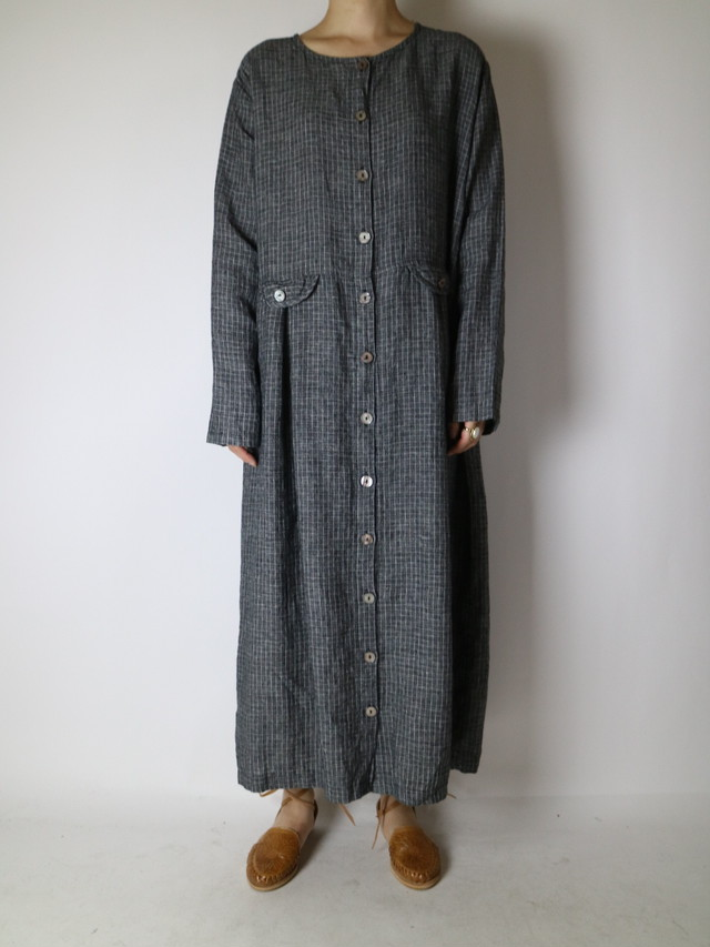 linen plaid dress【1068】