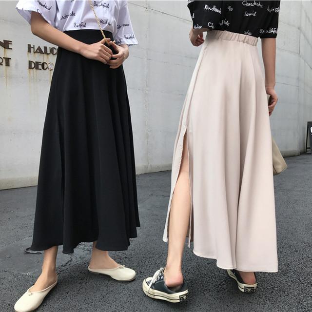 2020SS ワンカラー・サイドスリットロング丈スカート