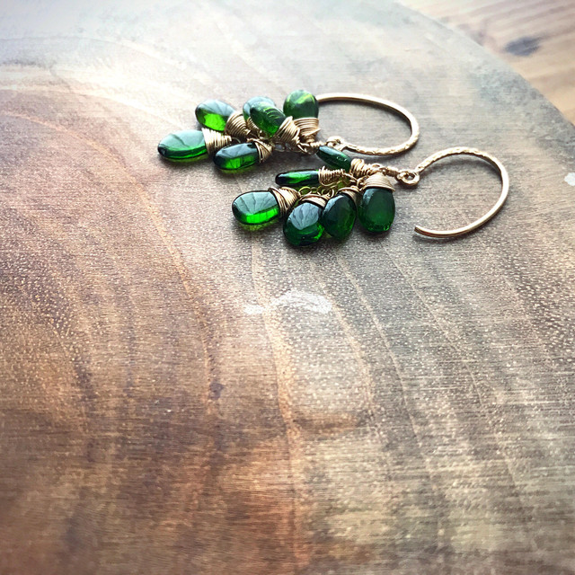 【再販】Chrome Diopside Cluster Earrings/14K GF