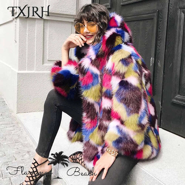 【FlamingoBeach】colorful fake fur coat