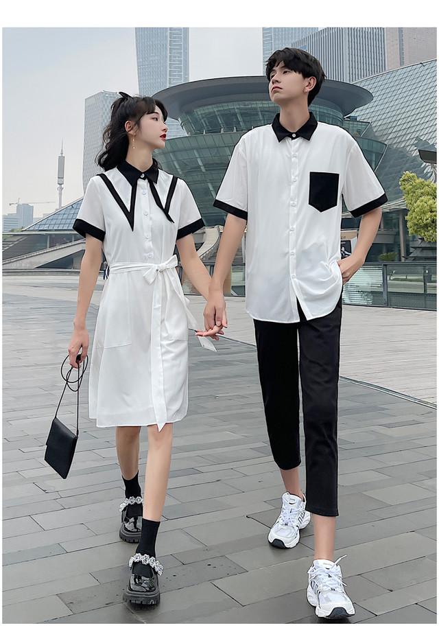 モノトーン シャツ ワンピース 0997 メンズシャツ カップル ペアルック リンクコーデ カジュアル お揃い デート
