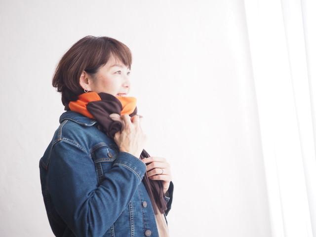 動画付手作りマフラーキット【モフリー Kit Box】ショコラオレンジ ◆Lサイズ