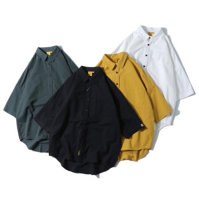 【UNISEX】カラード シンプル ショートスリーブ シャツ【4colors】UN-596