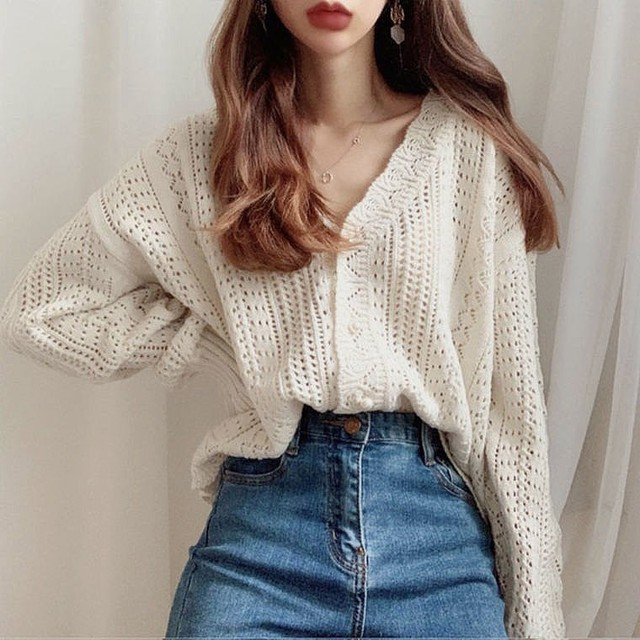 simple knit cardigan 2color