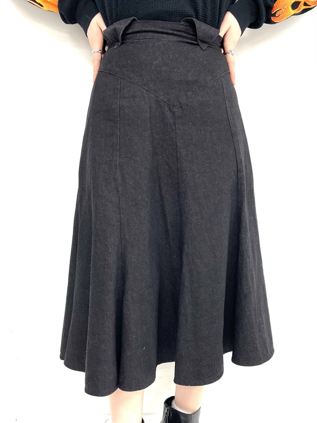 denim flare skirt/2SSSK23-09