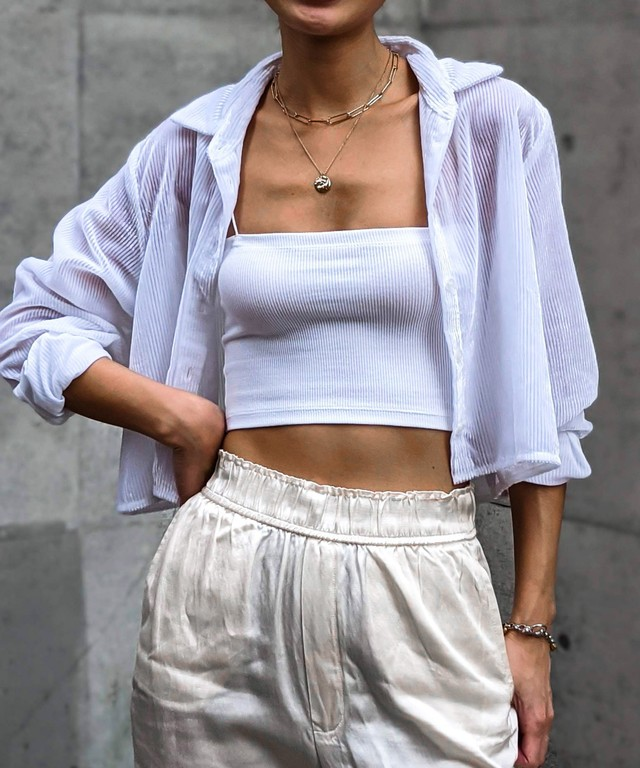Corduroy sheer shirt