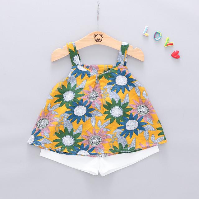 【ワンピース】女の子ファッションコットン花柄ノースリーブショート丈セットアップワンピース24835639