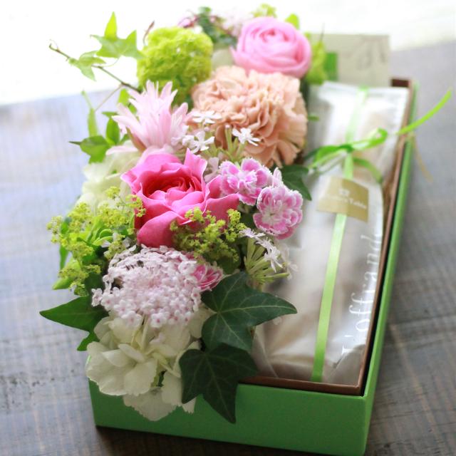 【花と団子】スリムアレンジセット ピンク