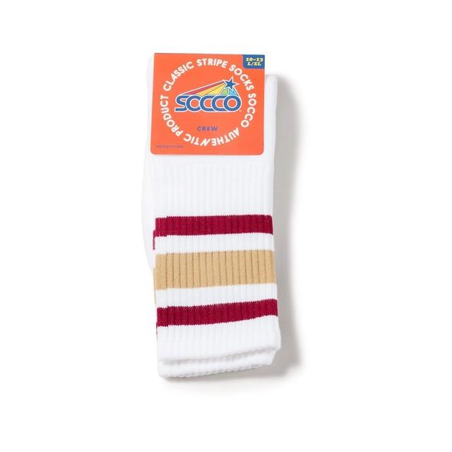 【SOCCO】Stripe Socks(MAROON & GOLD)
