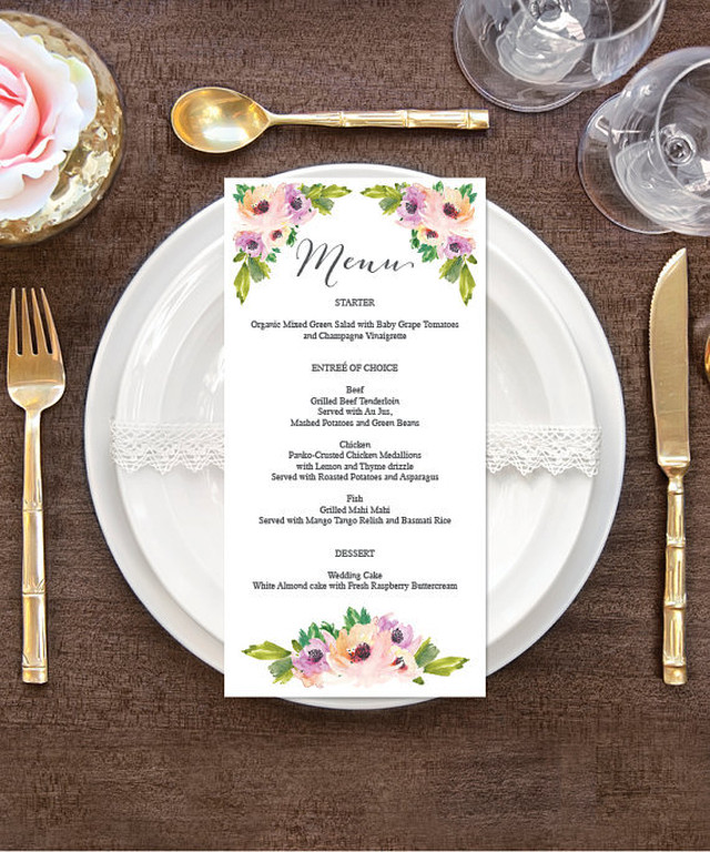 【Wild Flower】ゲストが何名でもこの値段♥︎自分で作る海外風ウェディングメニュー表キット│結婚式