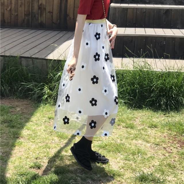 【skirt】スウィート清新ハイウエスト細見え刺繍合わせやすいスカート