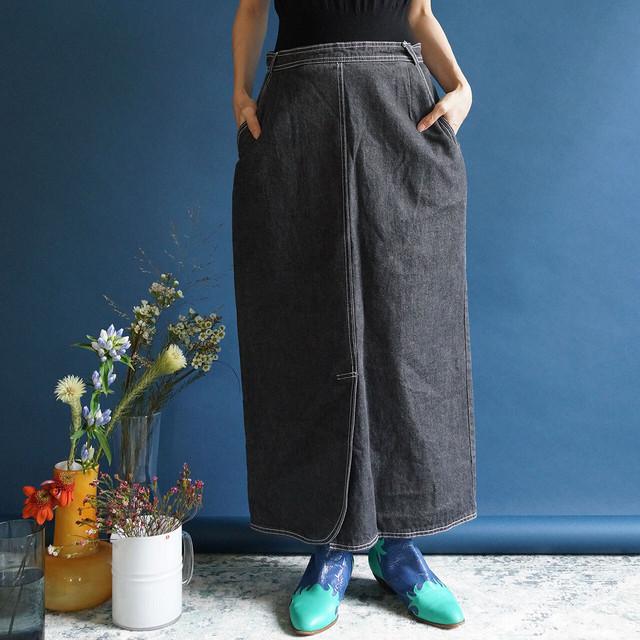 【送料無料】80's Vintage Grey Denim High Waisted Midi Skirt