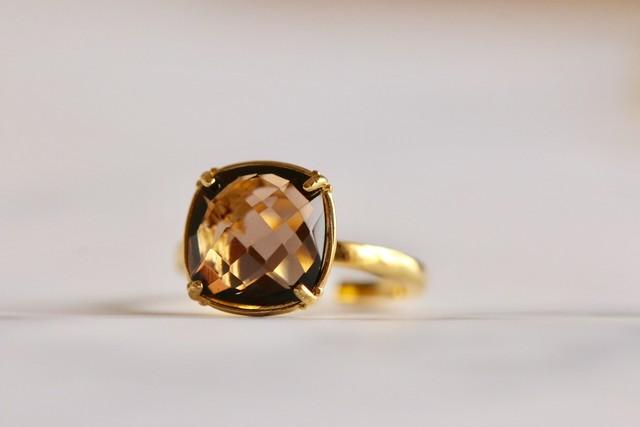【宝石質】Smorky quartz ring