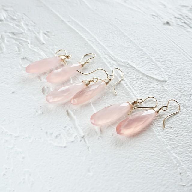 送料無料14kgf*Light Pink Chalcedony pierced earrings