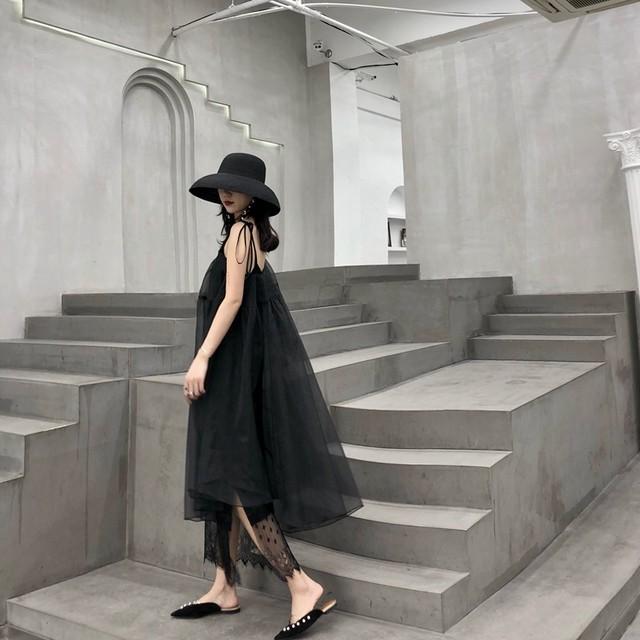 <予約>ブラック レイヤード キャミワンピース リゾートドレス