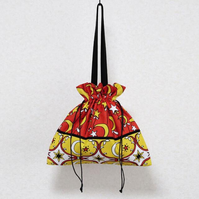 月と星の巾着バッグ|アフリカ布 / 大きめバッグ