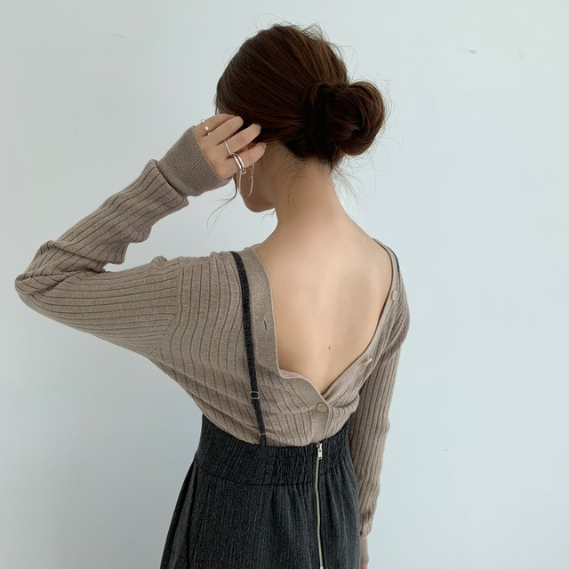 2way rib cardigan / beige (即納)